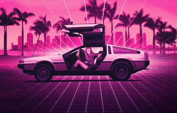 Картинка Девушка, Музыка, Неон, Фон, DeLorean DMC-12, DeLorean, DMC-12, DMC, Electronic, Synthpop, Darkwave, Synth, Retrowave, Синти-поп, …
