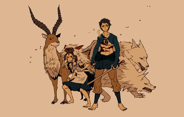 Картинка сила, волк, меч, олень, оскал, волки, принц, Хаяо Миядзаки, anime, art, Мононоке, Принцесса Мононоке, Mononoke-hime, …