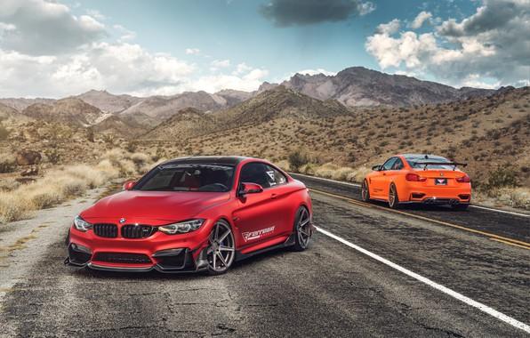 Картинка дорога, авто, красный, BMW M4