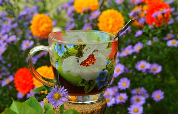 Фото обои Цветочки, Чашка, Flowers, Cup