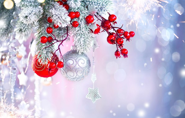 Картинка украшения, ягоды, праздник, шары, игрушки, новый год, ель, звездОчка