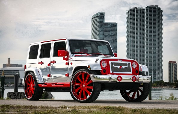Картинка wheels, with, Wrangler, Jeep, chrome, complete, forgiato, exterior, wrap