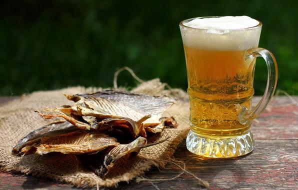 Картинка пена, бокал, пиво, рыба, таранка