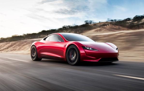 Фото обои car, Roadster, future, red, Tesla, 2020, Tesla Roadst