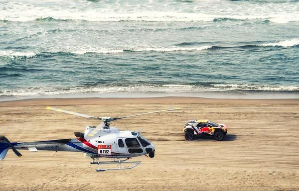 Картинка Песок, Океан, Море, Пляж, Авто, Волны, Спорт, Машина, Скорость, Вертолет, Гонка, Peugeot, Red Bull, 300, ...