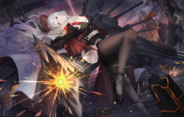 Картинка девушка, оружие, Поза, Azur Lane