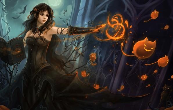 Картинка девушка, фантастика, магия, арт, ведьма