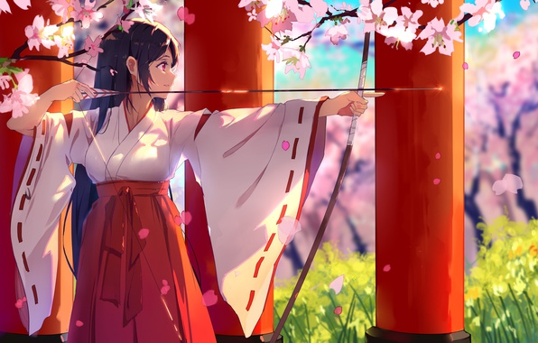 Картинка girl, anime, beautiful, pretty, sakura, brunette, asian, bow, japanese, arrow, oriental, asiatic, bishojo, seifuku, miko