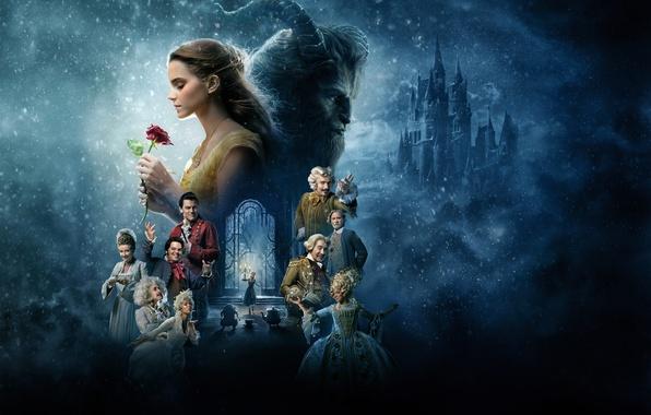 Картинка фэнтези, Эмма Уотсон, Emma Watson, постер, персонажи, Ian McKellen, Иэн МакКеллен, Ewan McGregor, Beauty and …