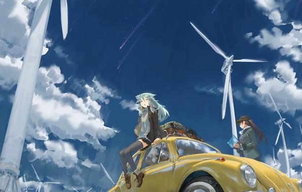 Картинка небо, девочки, аниме, арт, tommy830219