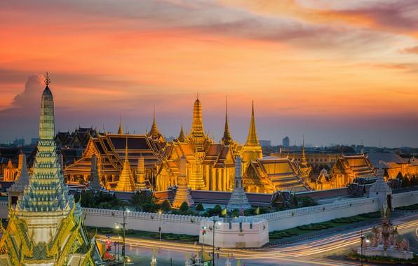 Картинка закат, вечер, Бангкок, Thailand, мегаполис, Bangkok
