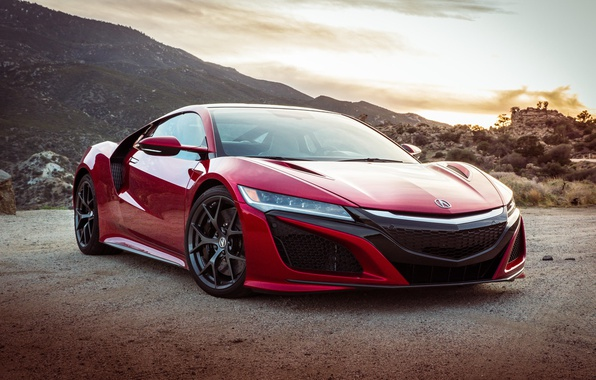 Картинка car, red, supercar, american, Acura, Acura NSX, montain, japanse