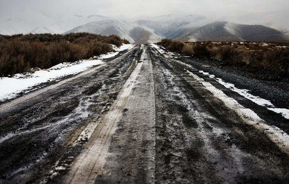Картинка дорога, горы, туман