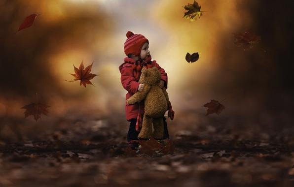 Картинка Природа, Осень, Листья, Игрушка, Мишка, Девочка