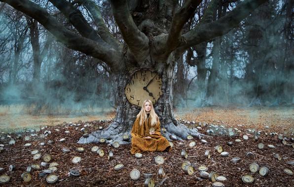 Картинка девушка, дерево, часы, ситуация, плед