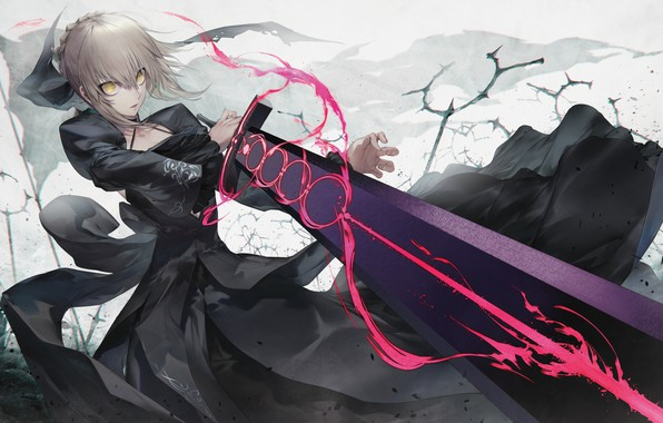 Картинка девушка, меч, аниме, арт, fate grand order, сейбер