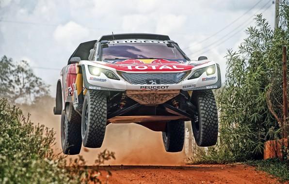 Картинка Авто, Спорт, Машина, Скорость, Гонка, Peugeot, Фары, Red Bull, Rally, Dakar, Дакар, Внедорожник, Ралли, Sport, ...