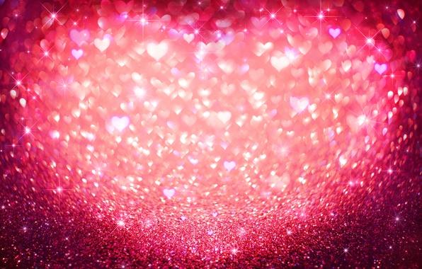 Картинка блестки, сердечки, love, pink, hearts, bokeh, glitter