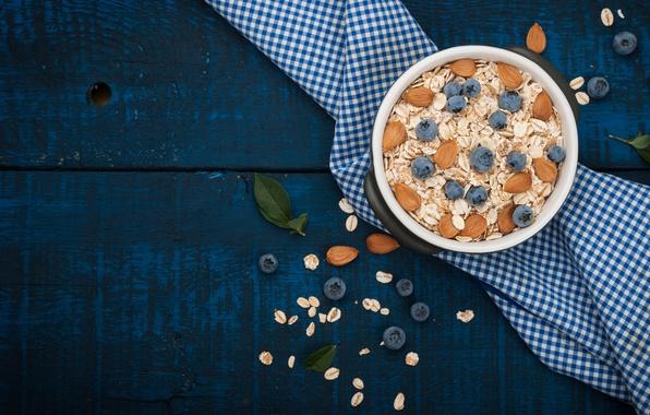 Картинка ягоды, завтрак, черника, орехи, миндаль, breakfast, овсяные хлопья