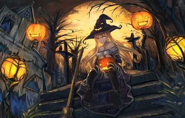 Картинка девушка, улыбка, дом, луна, шляпа, аниме, арт, лестница, тыквы, ведьма, halloween, senwa