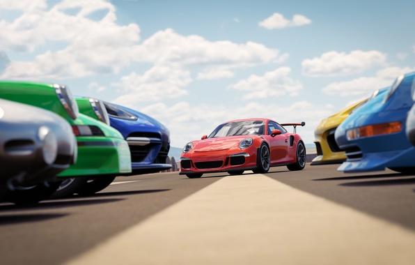 Картинка car, Porsche, game, sky, cloud, race, speed, Forza Horizon, kumo, Forza Horizon 3