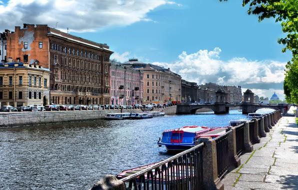 Картинка лето, солнце, блики, река, катера, набережная, Фонтанка, Санкт Петербург, мост Ломоносова, Parsadanov