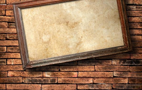 Картинка wall, bricks, hanging, frame