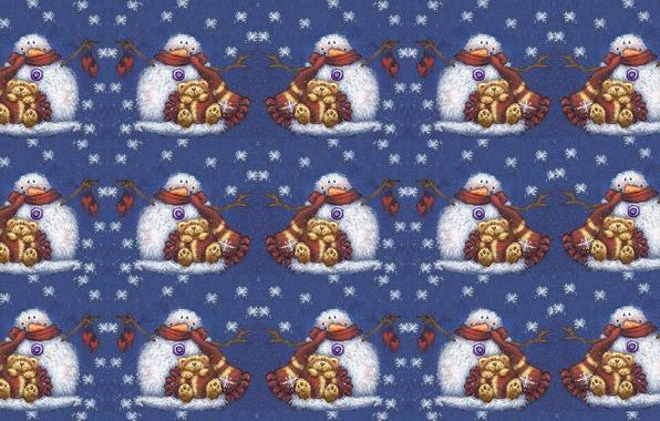 Картинка зима, снежинки, настроение, игрушка, сказка, текстура, морковка, арт, мишка, Новый год, снеговик, шарфик, детская