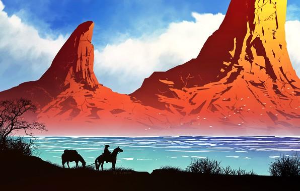 Картинка горы, природа, река, лошади, ковбой, by kvacm