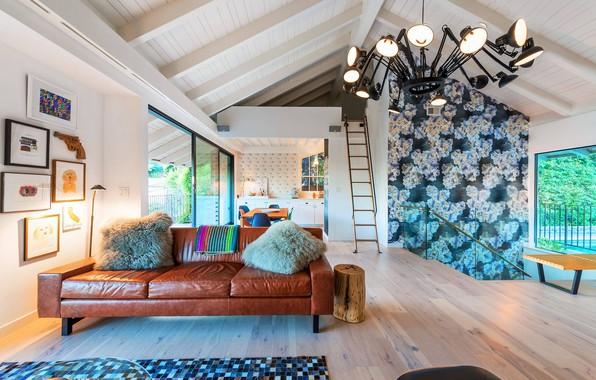 Картинка интерьер, кухня, гостиная, столовая, жилое пространство, House in Hollywood Hills