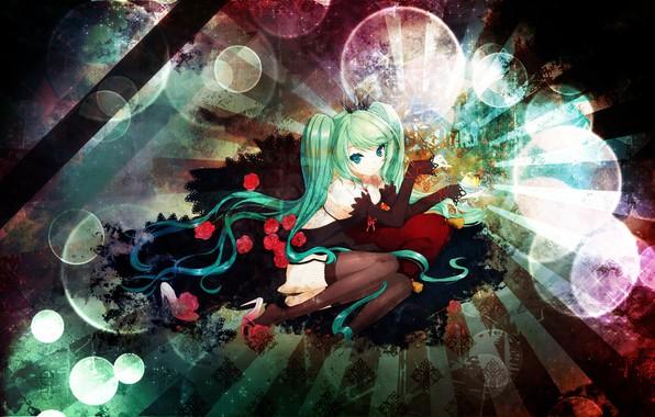 Картинка сияние, чулки, костюм, перчатки, vocaloid, hatsune miku, вокалоид, голубые волосы, красные розы