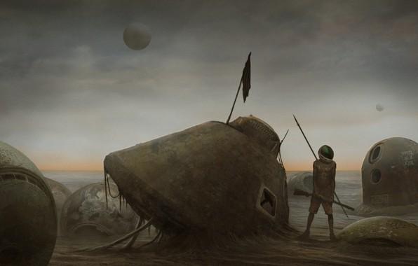 Картинка одиночество, человек, планета, аппарат, mars