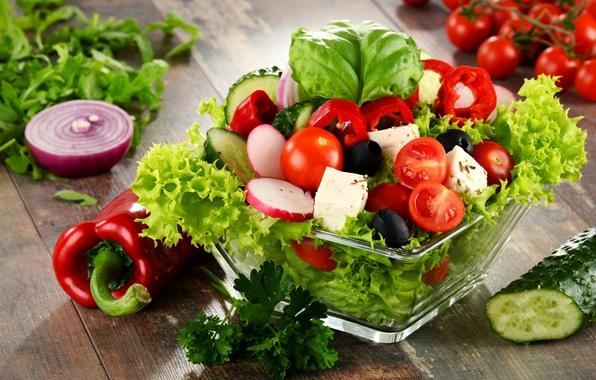 Картинка перец, овощи, помидор, салат, редис, брынза