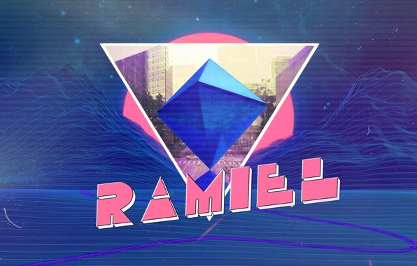 Картинка Горы, Неон, Ангел, Фон, Треугольник, Synthpop, Synth, Retrowave, Synthwave, Рамиил, Ramiel