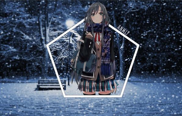 Картинка зима, девушка, свет, снег, ночь, парк, аниме, лавочка, снегопад, тян, madskillz