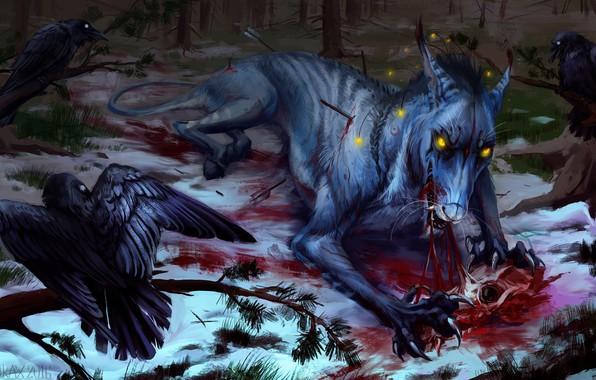 Картинка монстр, хищник, шерсть, пасть, когти, стрелы, art, мутант, пожирание, падальщики, раненый, горящие глаза, лужа крови, …