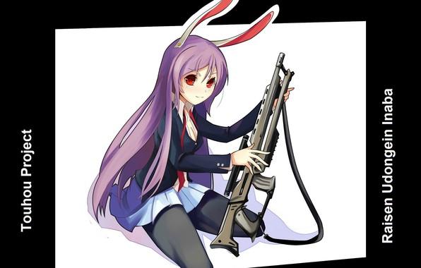Картинка красные глаза, винтовка, ушастая, Touhou Project, Проект Восток, Reisen Udongein Inaba, Лунный кролик