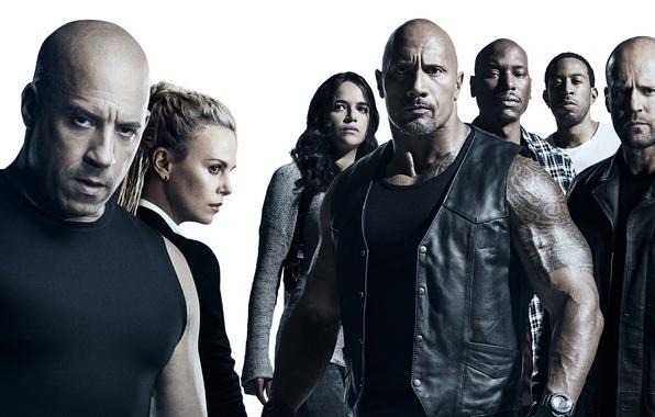 Картинка Charlize Theron, cinema, movie, Vin Diesel, Jason Statham, Dwayne Johnson, Michelle Rodriguez, film, The Fast ...