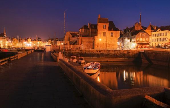 Картинка ночь, мост, огни, река, Франция, дома, лодки, фонари, канал, Honfleur