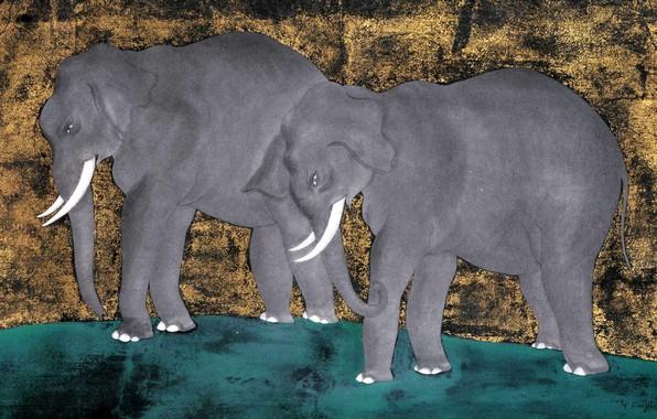 Картинка акварель, Слоны, 1918, Цугухару, Фудзита, Гуашь, кисть и тушь, и сусальное золото на бумаге
