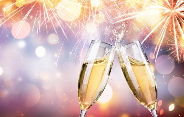 Картинка салют, colorful, Новый Год, фейерверк, new year, шампанское, happy, night, fireworks, фужеры, champagne, 2017, holiday …