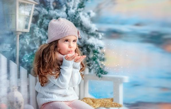 Фото обои фонарь, дерево, снежинки, скамья, зима, снег, ребёнок, девочка