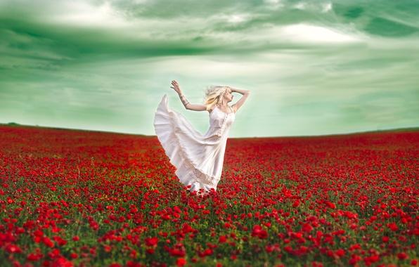 Картинка поле, девушка, цветы, настроение, маки, танец, платье, Vanessa Galway