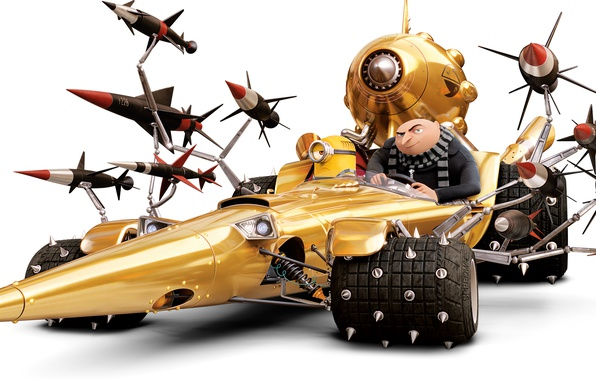 Картинка мультфильм, ракеты, шипы, белый фон, автомобиль, анимация, миньон, Gru, Despicable Me 3, Dru, Гадкий я …
