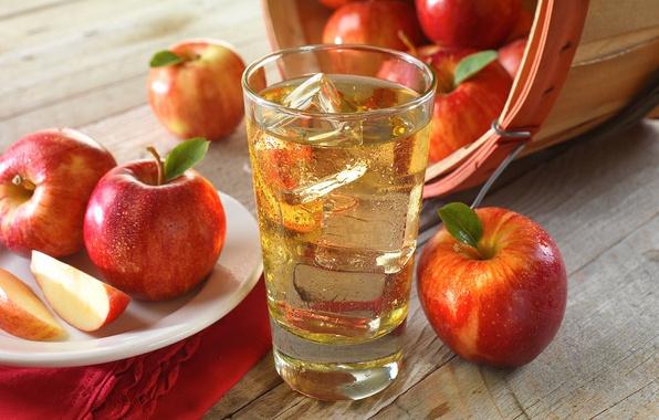 Картинка стакан, яблоки, сок