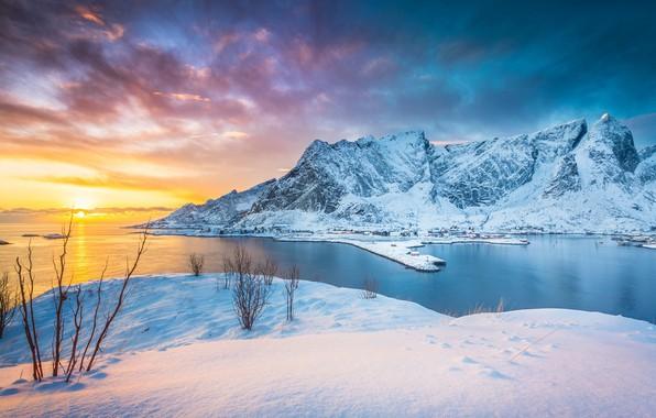 Картинка зима, закат, горы, озеро, Норвегия, Norway, Lofoten Islands, Stefano Termanini