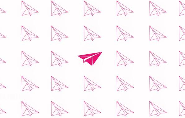 Картинка розовый, минимализм, летит, minimalism, flying, pink, airplanes, самолетики, Бумажные самолетики, Paper airplanes