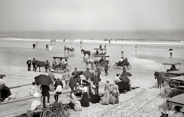 Картинка море, пляж, ретро, берег, Флорида, США, 1904-й год