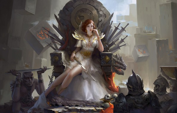 Картинка взгляд, девушка, фэнтези, арт, цепи, мечи, воины, трон, скелеты