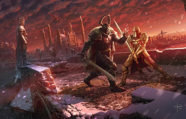 Картинка зима, снег, мост, город, река, тьма, дракон, меч, бой, воин, шлем, дуэль, рыцарь, схватка, art, …